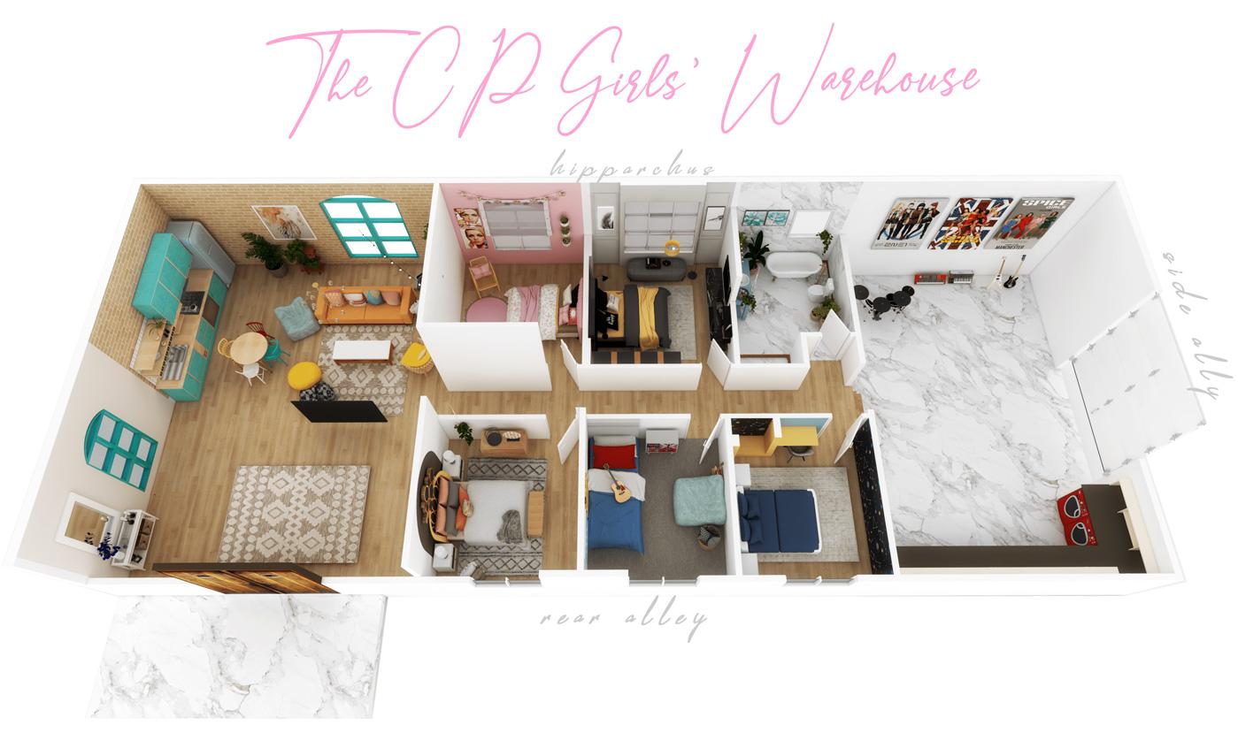 The Cyberpink girls' warehouse apartment floorplan
